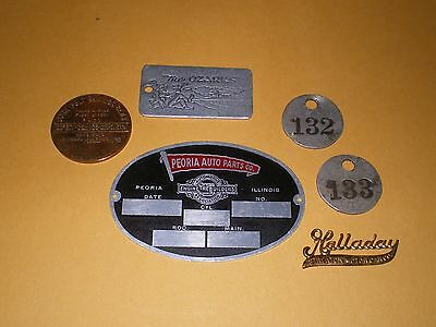 Old Advertising Brass and Metal Equipment Tags Labels Token