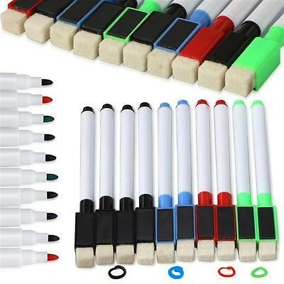 10 Assorted Magnetic White Board Markers Pens, 4 Colors,Eraser Dry Wipe