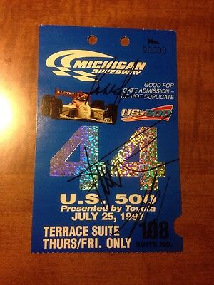 Greg Moore, Gil de Ferran, Bobby Rahal Signed 1997 Michigan Speedway Ticket Stub