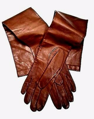 Carson Pirie Scott Brown Kid Leather Opera Gloves ~ Size 6 ~ Never Worn