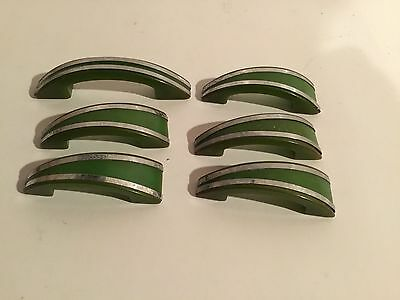 Lot Of 6 Vintage Retro Green Bakelite Chrome Drawer Door Pulls Handles
