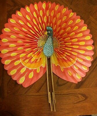 Chinese Hand Fan, Bamboo and Paper, Hand Painted Peacock.