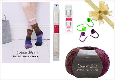 Sock Knitting Starter Kit - Debbie Bliss Wool Rich Yarn, Pattern, Needles + More