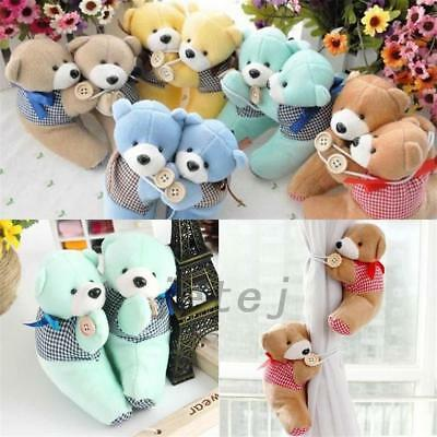 2Pcs Baby Bedroom Plush Bear Curtain Tieback Holder Hook Buckle Windows Decor