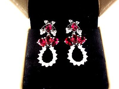 Exquisite  Ruby & White Topaz Earrings  ~ Sale & Free Post ~ Sterling Silver 925