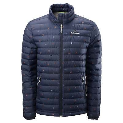 Kathmandu Heli Mens Lightweight Duck Down Coat Warm Puffer Jacket v2 Navy Print