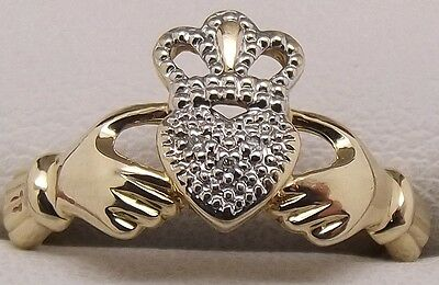 Solid 9Ct Yellow Gold Natural Diamond Claddagh Ring