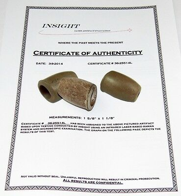 Authentic Ohio Pipestone Medicine Tube Peace Pipe Indian Artifact COA Arrowhead
