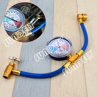 R134A Car Air Conditioning Refrigerant Recharge Measuring Hose Adapter Gauge Kit
