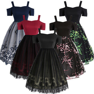 2129bc5e45c 1950 s Women Lace Retro Dress Swing Pinup Housewife Evening Party Vintage  Dress