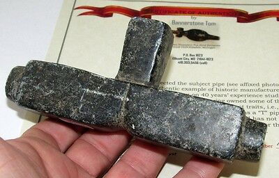 Authentic Stone Counsel Peace Pipe Spencer Co IN Indian Artifact w COA Arrowhead