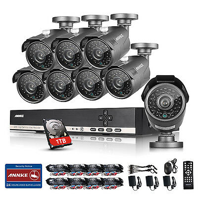 ANNKE 1080N HD 8CH DVR 8x 960P Outdoor IR Day Night Security Camera System 1TB
