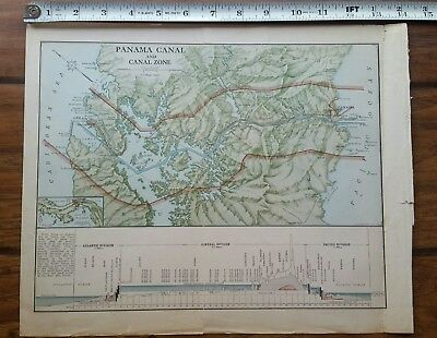 1913 Original Panama Canal and Canal Zone map
