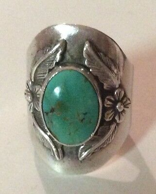 Vintage Carol Felley Turquoise Ring Size 8 Sterling Silver
