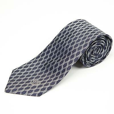"Versace $175 NWT Navy Blue Silver Geometric Pattern Silk Tie 3.25"" Made in Italy"