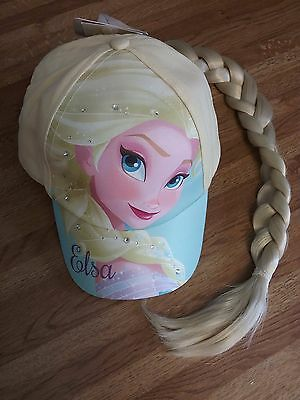 "Disney Frozen  Elsa  Girls  Baseball Hat Cap With Hair Braid 20"" Nwt Beige /blue"