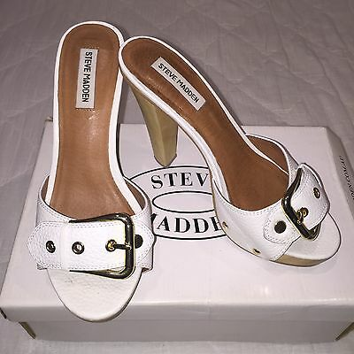 Steve Madden White Leather Block Heels with Gold Buckles - Size 38