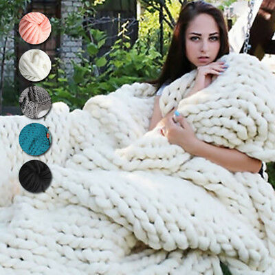 5 Colors Large Warm Sofa Chunky Knit Blanket Thick Yarn Wool Bulky Knitted Throw