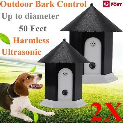 2X Outdoor Ultrasonic Deter Annoying Anti Bark Control Pet Dog No Barking House