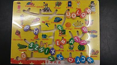 *BRAND NEW* Large Wooden Kids/ Children Puzzle- Numbers, Letters & Pictures Game