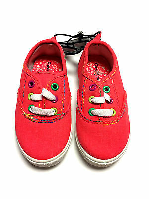 """""""Garanimals"""" Girl's Sneakers Coral Color Canvas Toddler Shoes Size 7 - New"""