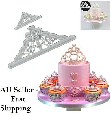 2 Pcs Crown Tiara Fondant Cutter Mould Cake Cupcake Topper Plastic Sugarcraft