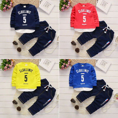 Casual Baby Boys Girls Clothing Sets Toddler Kids Pullover Shirts&Pants Outfits