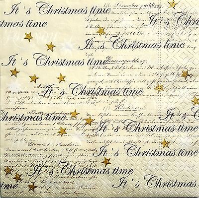 4 Single Lunch Paper Napkins for Decoupage Craft Vintage Christmas Letter