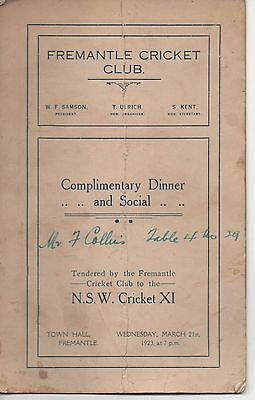 WA - FREMANTLE CRICKET CLUB -  Complimentary Dinner and Social - 1923