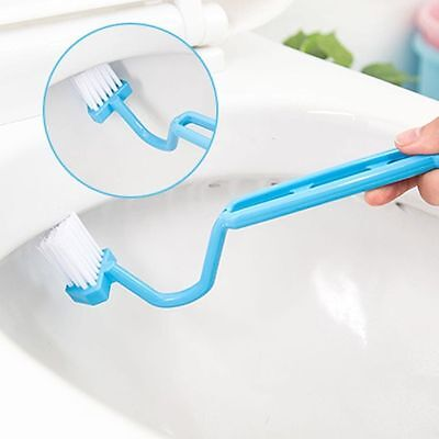 1Pc Unique Dsign Curved Bent Handle Toilet Brush Cleaning Scrubber Tool