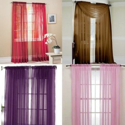 Sheer Window Curtains Door Drape Panel or Scarf Scarf Tulle Assorted Voile Pure