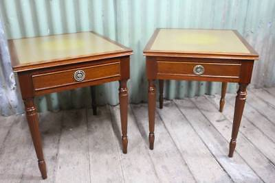 A Pair of Vintage Regency Side Tables with Leather Tops and Drawers - Bedsides