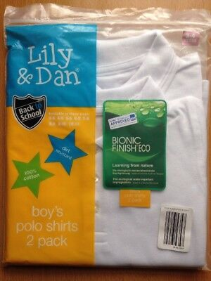 New, Two Pack, Boys White Polo Shirts for 3-4 Yrs by Lily & Dan.