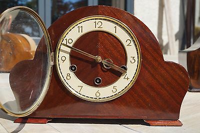 Compact H.A.C. dual chime mantel clock.Westminster/Whittington.SEE VIDEO.