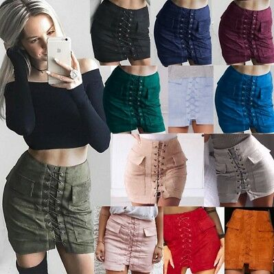 UK Women Preppy Short Mini Skirt High Waist Ladies Lace-Up Suede Leather Pock