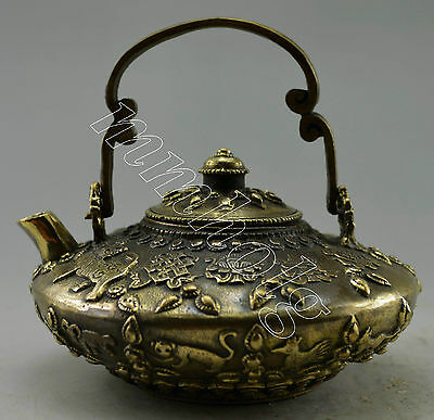 Collectible Decorated Old Handwork Copper Carved Tibet 12 Zodiac Copy Tea Pot