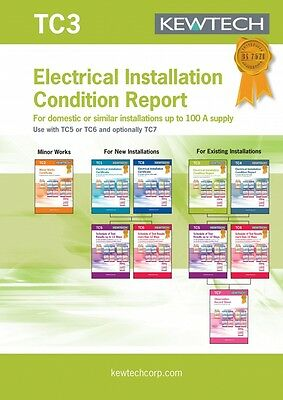 Kewtech TC3 Electrical Installation Cond Report Certificate Book-Amendment 3