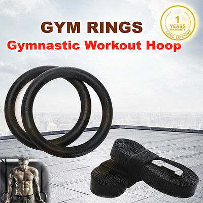 New Gymnastic Gym Rings Hoop Crossfit Exercise Fitness Home Workout Dip Pair Bar