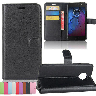 Vintage Classic Leather Wallet Flip Stand Magnetic Case Cover For MOTO G5S Plus