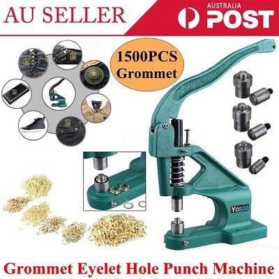 1500 Grommet Eyelet Hole 6mm 10mm 12mm Punch Machine Hand Press Tool +3 Dies