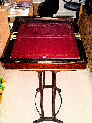 Quality antique brass bound walnut campaign writing slope