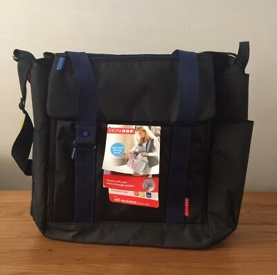 Skip Hop Fit All Access Diaper Tote - Baby Changing Bag -Black/cobalt- Brand New