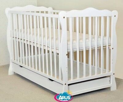 15an.  Baby Cot Bed With Drawer Wood White With Mattress