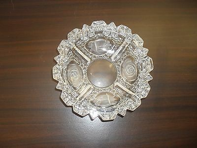 Vintage crystal ashtray/candy dish with frosted roses