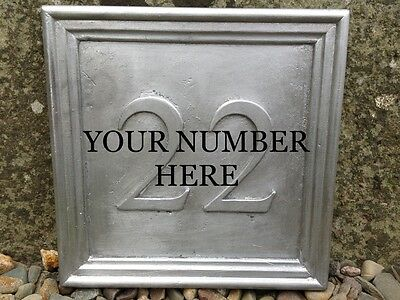 "LARGE SOLID LEAD BESPOKE HOUSE PLAQUE. ""YOUR NUMBER"" Times Roman  200x200mm"