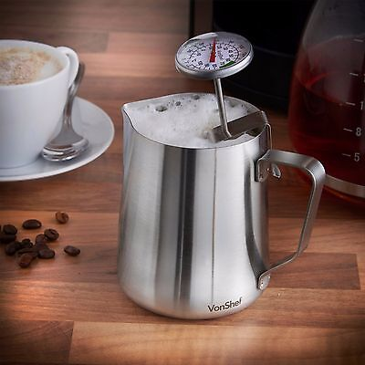 VonShef Stainless Steel Milk Pitcher Suitable for Coffee Latte & Frothing Milk