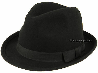 Hawkins Mens 100% Wool Felt Trilby Hat Headwear Rolled Up Brim & Band - Black