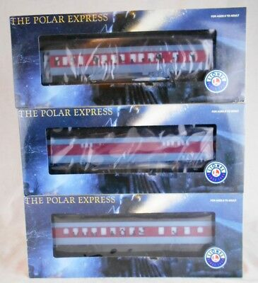 Lot of 3 Lionel Polar Express Train Cars: Diner , Baggage  & Hot Chocolate MIB