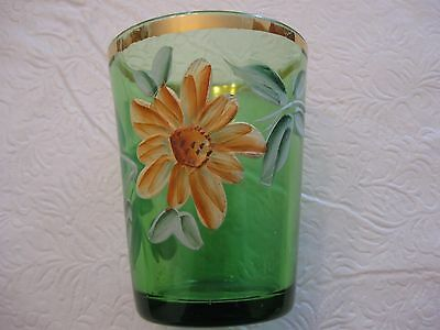 Vintage Enamel Painted Drinking Glass~ Dk. Green~ Gorgeous