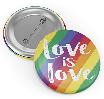 Gay Rainbow Pride Love is Love Button Badge Support Couple Equality Gay Marriage